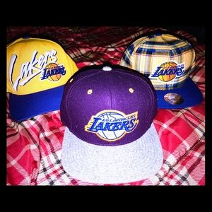 3 Mitchell and Ness LA LAKERS caps hats